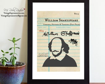 William Shakespeare, First Folio, Comedies, Histories, & Tragedies, Library Card Art, Book Art, Silhouette Print