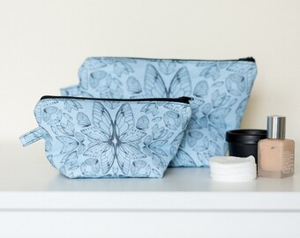 Blue Insect Wings Wash Bag available in Large and Small // Toiletry Bag - Travel Wash Bag - Handmade Wash Bag - Cosmetic Bag - Makeup Bag