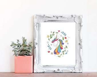 DIY / Whimsical Unicorn Hand Drawn Watercolor Art Print / Printable / Instant Download