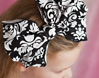 Damask Knit Headband with Large Bow / Available in 2 Colors / One Size
