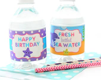 Under The Sea Bottle Labels - Under The Sea Party Decorations - Under The Sea Bottle Labels - Girls Under The Sea Birthday - Bottle Wraps