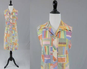 70s Patchwork Dress - Multicolor Striped Patches - Country Miss - Suburban Housewife - Vintage 1970s - M
