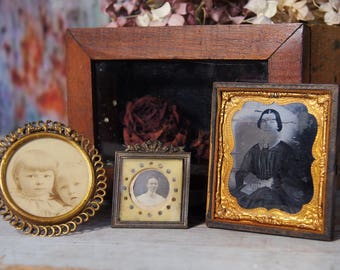 3 small Antique Photograph Picture Frames