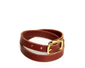 Double Wrap Basic Buckle Bracelet -- Chestnut Leather