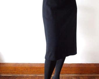1950s Pencil Skirt - black wool knit skirt - vintage wiggle skirt