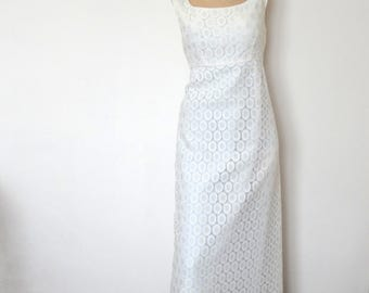 1970s White Lace Maxi Dress - vintage wedding gown - empire waist prom formal