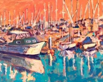 Boat Reflections - Painting, Original Oil, Oil Painting, Boats, Dock, Harbor, Sailboats, Reflections, Water, Ocean