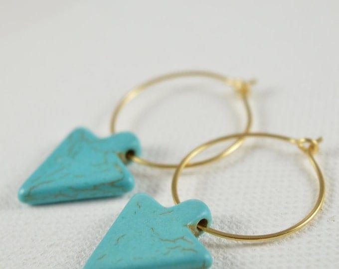 Turquoise Magnesite Arrowhead Hoop Earrings