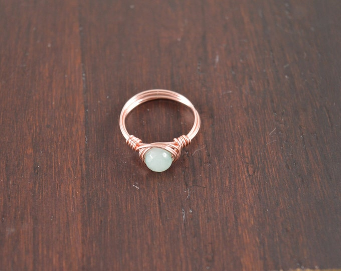 Amazonite Faceted Wire Gemstone Ring