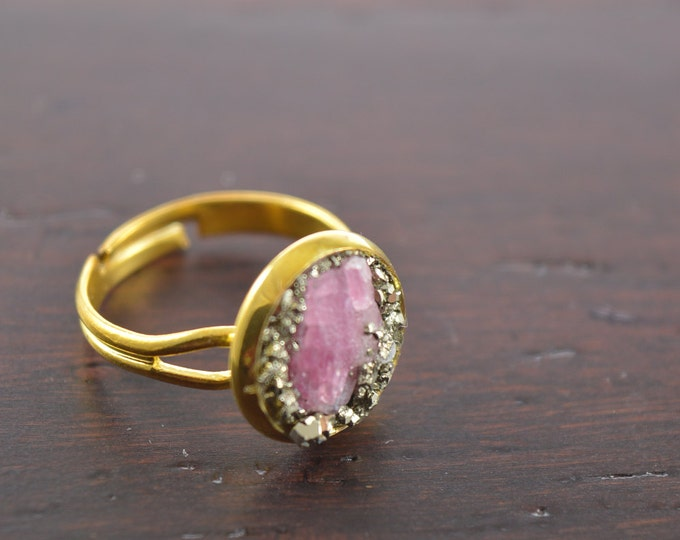 Raw Tourmaline Ring With Pyrite