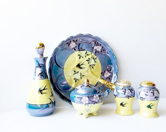 Ceramic Blue Yellow Lusterware With Bluebirds Vintage Condiment Set Hand Painted Lustreware Flying Birds Swallows Sugar Bowl Salt Pepper Set