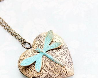 Large Heart Locket Necklace Verdigris Patina Dragonfly Pendant Gold Floral Photo Locket Vintage Style Valentines Day Keepsake Gift For Mom