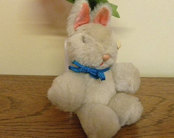 Vintage Miniature Rabbit - Chinese Pure Wool Bunny Toy - Hanging Pram Toy - 1960's Toy Rabbit