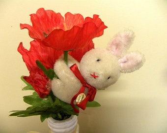 Miniature Vintage Rabbit - Finger Hugging Bunny - Chinese Pure Wool Rabbit Toy - Hanging Pram Toy - 1960's Toy Rabbit