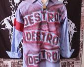 Punk Men's Shirt Button Up Long Sleeve Seditionaries Top 77 Sex Pistols Destroy Striped Blue Punk Rock Dress Shirt