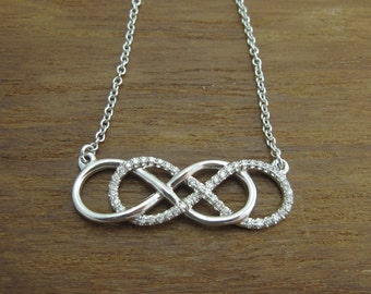Diamond infinity necklace, White gold double infinity knot diamond necklace, Diamond infinity knot necklace, Diamond pendant gold necklace