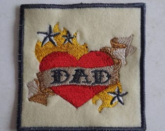 Dad tattoo patch, biker, rocker , Father's Day, Birthday, card making, UK