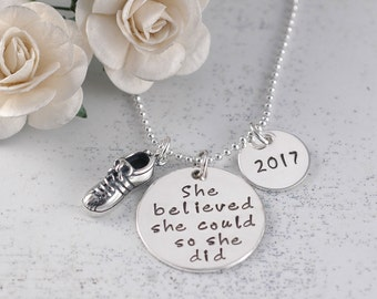 Runner Necklace - Marathon Jewelry - 2017 - She believed she could so she did - tennis shoe - track shoe - sneaker