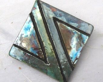 Carved art deco raku ceramic brooch pin