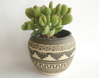 Ceramic planter colorful pottery Navajo inspiration Carved  sgraffito Vase home deco geo  Aztec cactus planter boho decor one of a kind