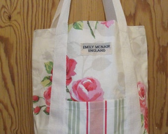 Pink, Green and White Chintz and Candy Stripe Cotton Canvas Tote Market Shopper Beach Bag Ready to Ship