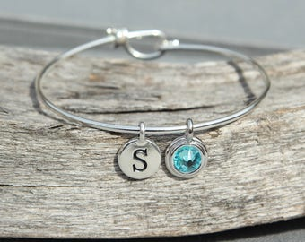 Personalized Initial Bracelet Gift for Mom Bracelet, December Birthstone, Initial Bracelet Grandma Jewelry, Mothers Birthstone Bracelet