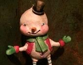 Little Snowman Ornament, vintage style