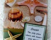 Beach card, Handmade starfish card, Ocean themed greeting, Summer card, Beach life, Fun travel card, Nautical vacation, Sea shells card