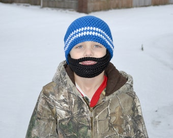 Crochet Baby Boy Beanie with Beard Hat - 3 months to 10 years - Royal Blue and White with Black Beard - MADE TO ORDER