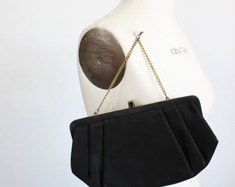 Vintage 1950s Black Satin Clutch Purse / L & M Spotlight Exclusive Cocktail Handbag / Gold Chain Wrist Strap Satin Lining Evening Hand Bag
