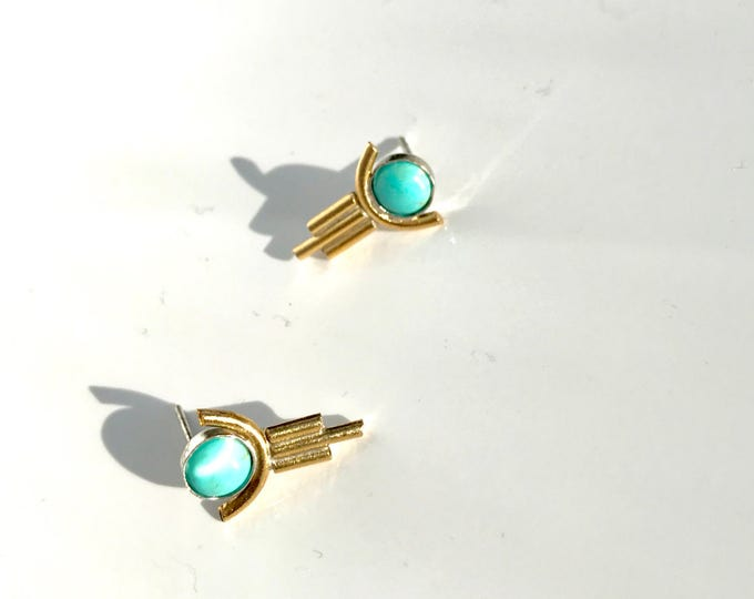 A k n a Hand forged Brass Turquoise arch stud Earrings