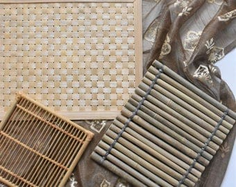 set of 3 woven rattan bamboo wood table placemats / table setting / trivets coasters