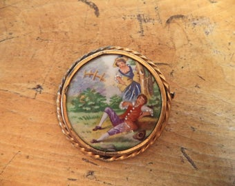 Hand Painted Courting Couple Cameo Limoges Brass Setting Vintage Jewelry Pin