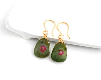 Watermelon Tourmaline Earrings, Green Watermelon Tourmaline Slice Dangle Earrings, Gold Gemstone Dangles, Gift For Her