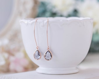 Rose Gold Grey Glass Crystal Long Dangle Earrings Wedding Jewelry Bridesmaid Gift Gray Earrings Rose Gold Jewelry Bridal Party Gift for her