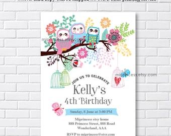 OWL invitation, girl Birthday party Invitation for any age 1st 2nd 3rd 4th 5th 6th 7th 8th 9th girl birthday, three owls party- card 875