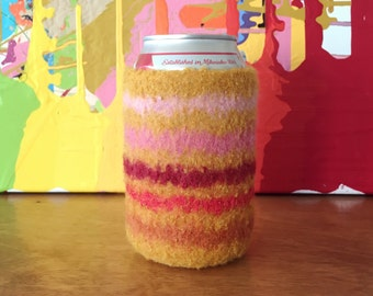 Felted Can Cozy - Candy Stripes!