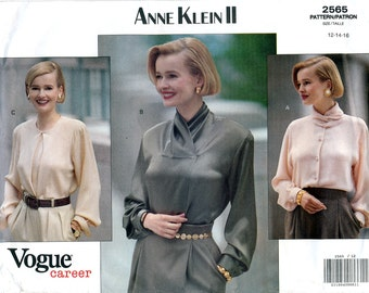 Vogue Career 2565 Sewing Pattern by Anne Klein II for Misses' Blouse - Uncut - Size 12, 14, 16 - Bust 34, 36, 38