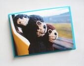 Cute amigurumi card - happy travels on the train with crochet animals