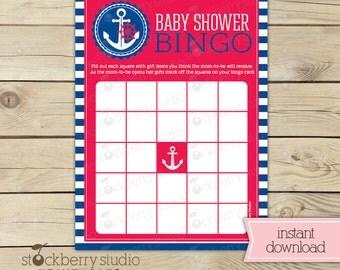 Nautical Baby Shower Bingo Game Printable - Anchor Baby Shower - Instant Download - Nautical Baby Shower Games - Red Blue Boy Baby Shower