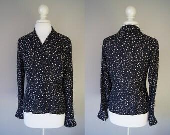 Vintage PATRICK CHRISTOPHER Blouse Silk Blouse Size 6 Polka Dot Blouse Black Blouse Silk Top Small Top Medium Blouse Dots Black Silk Top