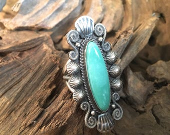 RING IT ON Vintage 70s Style Navajo Ring | Turquoise Silver Ring by Michael and Rosita Calladito M & R | Native American Jewelry Boho | Sz 7