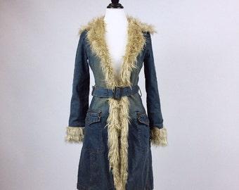 90's does 70's Shaggy Faux Fur Trim and Denim Belted Rocker Boho Coat // M