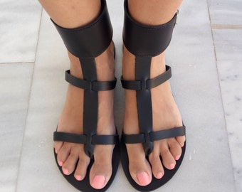 Women's Sandals, Leather Sandals, Greek Sandals, Gladiator Sandals, Black Sandals