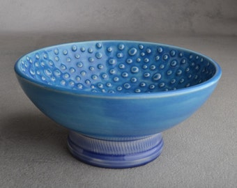 Shaving Bowl Made To Order Blue Dottie Shaving Bowl by Symmetrical Pottery