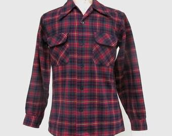 Vintage 1960s Shirt / 60s Mens Pendleton Red Plaid Wool Shirt / Small