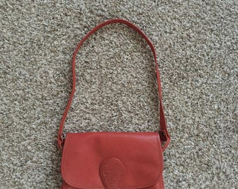 Vintage 1970s TANO of Madrid orange leather shoulder bag