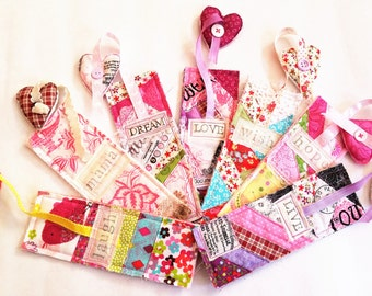 Fabric Bookmarks, Quilted Patchwork Bookmarks, Colorful Bookmarks, Assorted Bookmarks, You Choose, Gift Ideas for Kids, Gift For Her