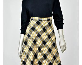 30% 0FF SALE Plaid Wool Skirt 70s Skirt High Waist Midi Skirt Fit and Flare A line Skirt 1970s Skirt Long Plaid Skirt