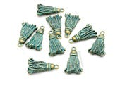 Tassel Charms, 10pc Patina Bronze Charms, 20x12mm